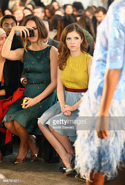 TV personality Louise Roe and actress Anna Kendrick attend the Jenny Packham fashion show with TRESemme during MercedesBenz Fashion Week Fall 2014 at...