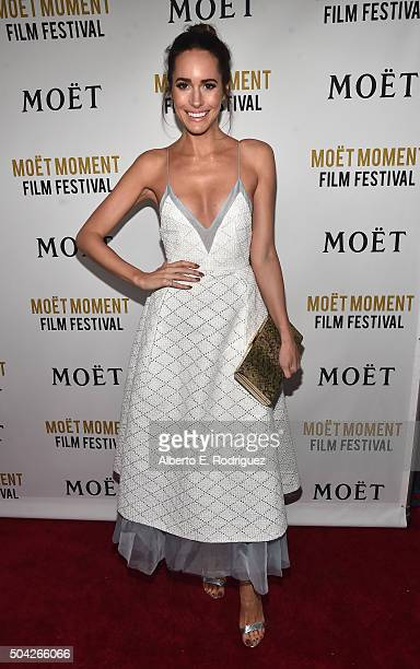 TV personality Louise Roe attends Moet Chandon Celebrates 25 Years at the Golden Globes on January 8 2016 in West Hollywood California