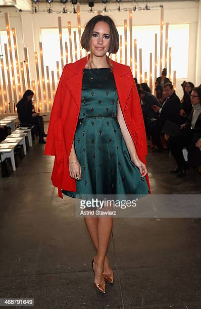 TV personality Louise Roe attends the Jenny Packham fashion show with TRESemme during MercedesBenz Fashion Week Fall 2014 at Industria Superstudio on...
