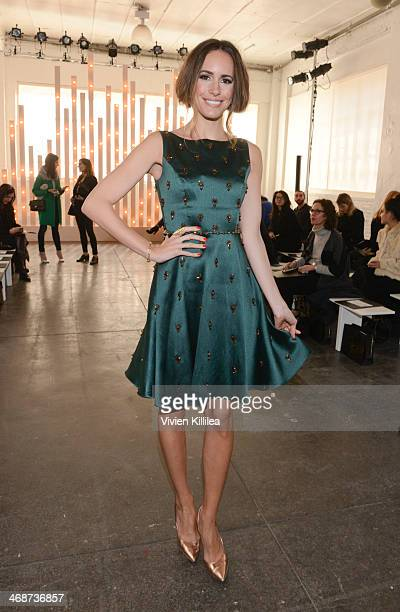 TV personality Louise Roe front row at Jenny Packham MercedesBenz Fashion Week Fall 2014 at Industria Studios on February 11 2014 in New York City