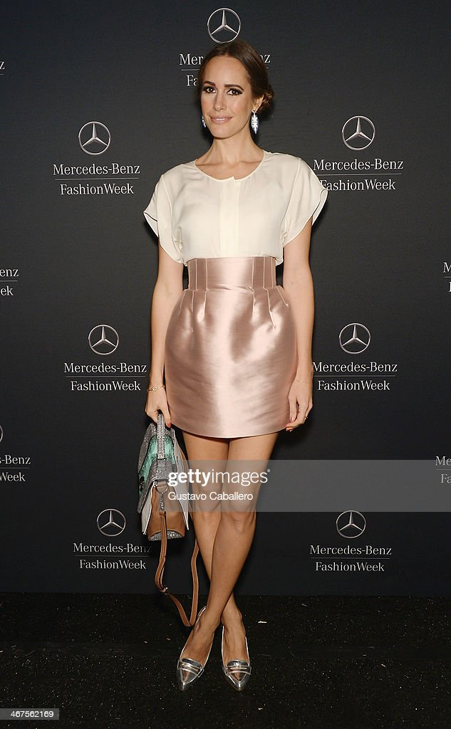 T.V. personality Louise Roe is seen during Mercedes-Benz Fashion Week Fall 2014 at Lincoln Center for the Performing Arts on February 6, 2014 in New York City.