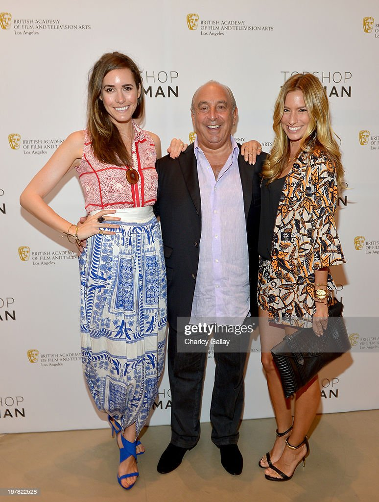 TV personality Louise Roe, Proprietor Sir Philip Green, and TV personality Renee Bargh attend BAFTA Los Angeles and Sir Philip Green Celebrate the British New Wave at Topshop Topman at The Grove on April 30, 2013 in Los Angeles, California.
