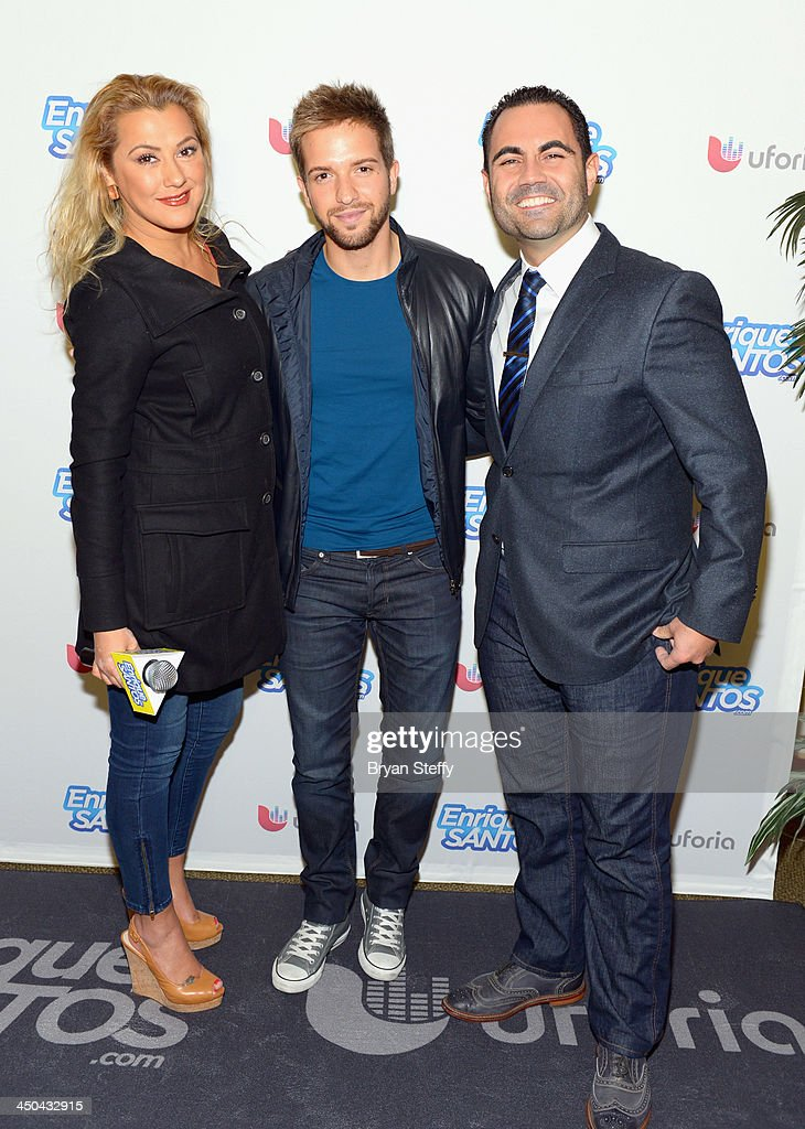 TV personality Luisa Fernanda, singer <a gi-track='captionPersonalityLinkClicked' href=/galleries/search?phrase=Pablo+Alboran&family=editorial&specificpeople=7512466 ng-click='$event.stopPropagation()'>Pablo Alboran</a> and TV personality <a gi-track='captionPersonalityLinkClicked' href=/galleries/search?phrase=Enrique+Santos+-+Television+Personality&family=editorial&specificpeople=15214264 ng-click='$event.stopPropagation()'>Enrique Santos</a> attend the Univision Radio Remotes during the 14th annual Latin GRAMMY Awards at the Mandalay Bay Events Center on November 18, 2013 in Las Vegas, Nevada.