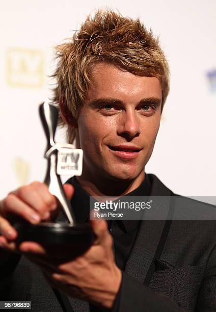 TV personality Luke Mitchell poses with the Logie award for Most Popular New Talent in the 52nd TV Week Logie Awards room at Crown Casino on May 2...