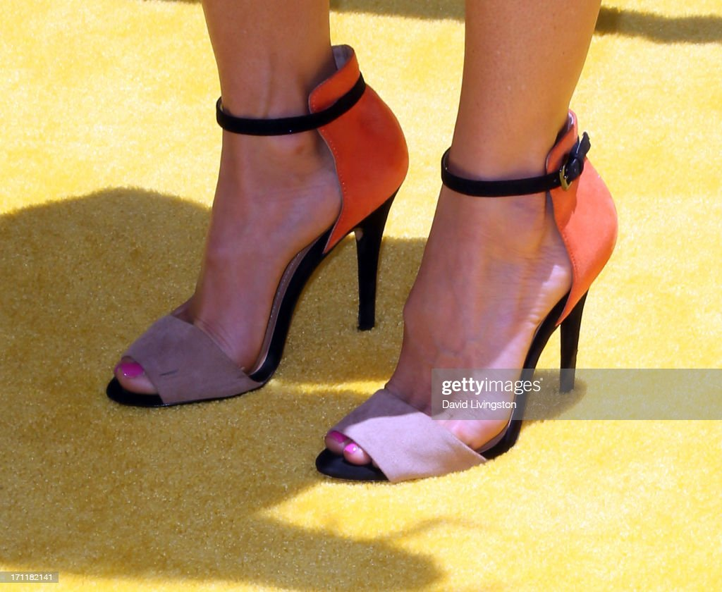 TV personality Lydia McLaughlin (shoe detail) attends the premiere of Universal Pictures' 'Despicable Me 2' at the Gibson Amphitheatre on June 22, 2013 in Universal City, California.