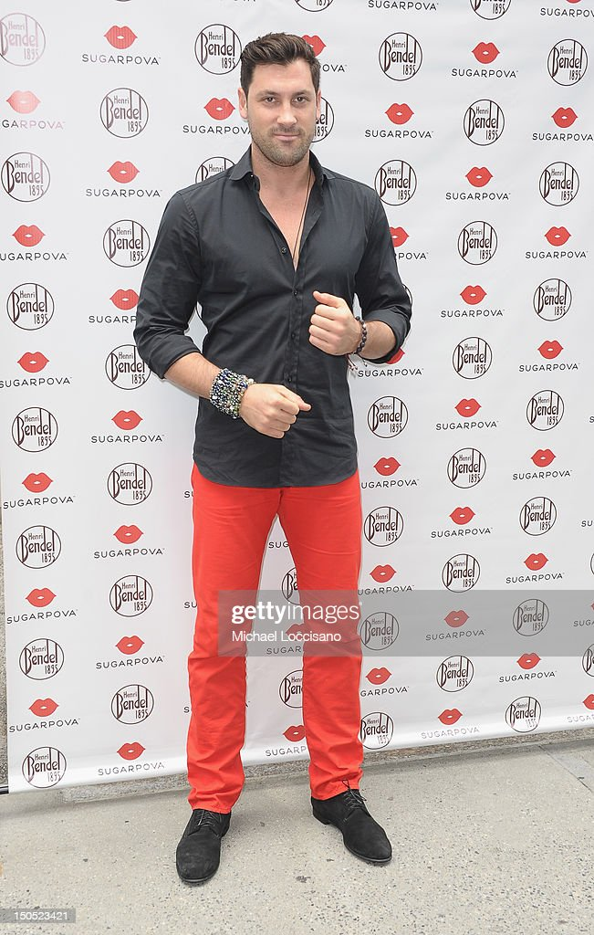 TV Personality <a gi-track='captionPersonalityLinkClicked' href=/galleries/search?phrase=Maksim+Chmerkovskiy&family=editorial&specificpeople=4251170 ng-click='$event.stopPropagation()'>Maksim Chmerkovskiy</a> attends the Sugarpova candy launch at Henri Bendel on August 20, 2012 in New York City.
