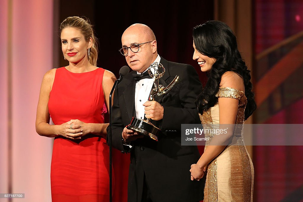 TV personality Maria Alejandra Requena, VP of Programs at CNN Espanol Eduardo Suarez, and TV personality Alejandra Oraa speak onstage during the 2016 Daytime Emmy Awards at Westin Bonaventure Hotel on May 1, 2016 in Los Angeles, California.