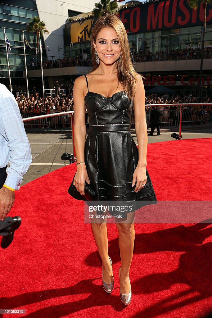 TV personality <a gi-track='captionPersonalityLinkClicked' href=/galleries/search?phrase=Maria+Menounos&family=editorial&specificpeople=203337 ng-click='$event.stopPropagation()'>Maria Menounos</a> arrives at the 2012 MTV Video Music Awards at Staples Center on September 6, 2012 in Los Angeles, California.