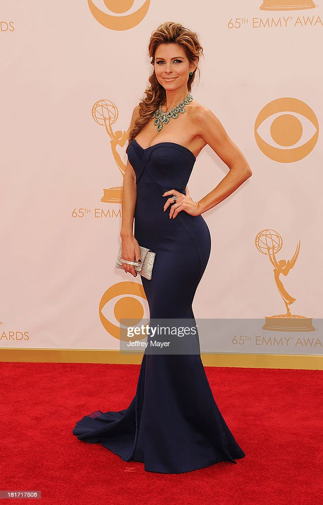 TV personality Maria Menounos arrives at the 65th Annual Primetime Emmy Awards at Nokia Theatre L.A. Live on September 22, 2013 in Los Angeles, California.