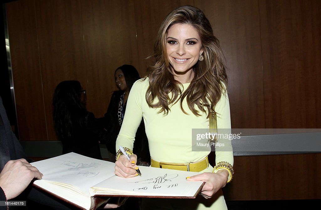 TV personality <a gi-track='captionPersonalityLinkClicked' href=/galleries/search?phrase=Maria+Menounos&family=editorial&specificpeople=203337 ng-click='$event.stopPropagation()'>Maria Menounos</a> poses at the GRAMMY Charities Signing Booth during the 55th Annual GRAMMY Awards at STAPLES Center on February 10, 2013 in Los Angeles, California.
