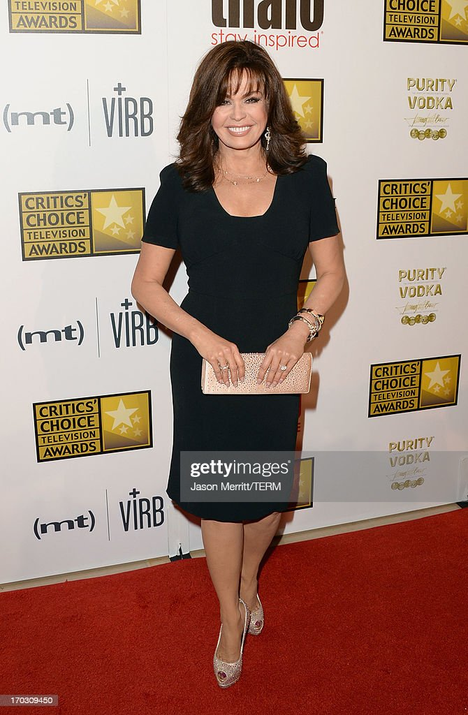 TV Personality <a gi-track='captionPersonalityLinkClicked' href=/galleries/search?phrase=Marie+Osmond&family=editorial&specificpeople=217477 ng-click='$event.stopPropagation()'>Marie Osmond</a> arrives at Broadcast Television Journalists Association's third annual Critics' Choice Television Awards at The Beverly Hilton Hotel on June 10, 2013 in Los Angeles, California.