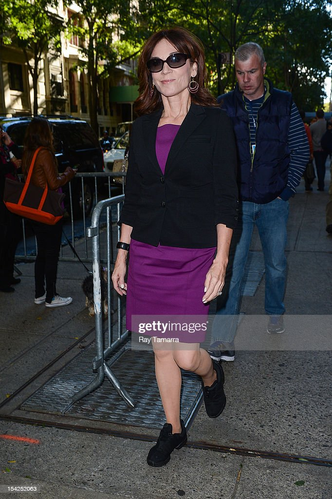 TV personality Marilu Henner enters the 'Live With Kelly And Michael' taping at the ABC Lincoln Center Studios on October 16, 2012 in New York City.