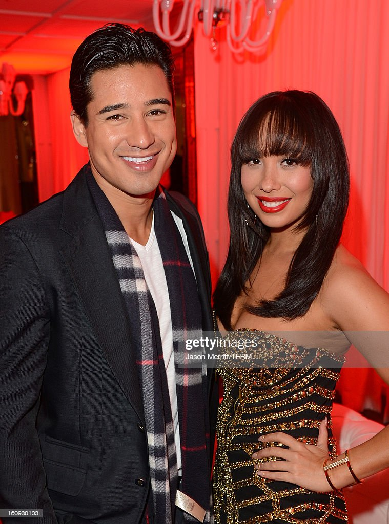 TV personality Mario Lopez and dancer Cheryl Burke attend Quattro Volte Vodka Preview with Taio Cruz at SLS Hotel on February 7, 2013 in Beverly Hills, California.