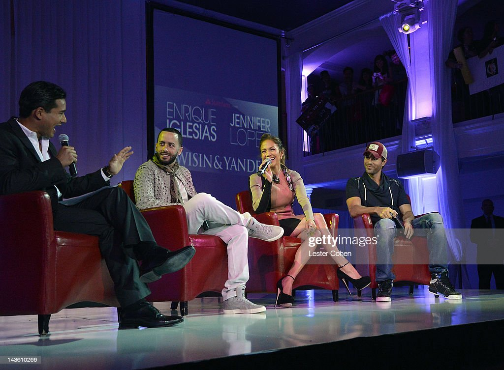 TV Personality Mario Lopez and musicians Yandel of musical group Wisin Y Yandel Jennifer Lopez and Enrique Iglesias attend a press conference at...