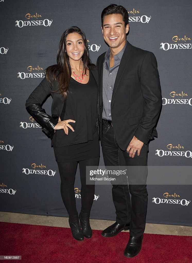 TV personality <a gi-track='captionPersonalityLinkClicked' href=/galleries/search?phrase=Mario+Lopez&family=editorial&specificpeople=235992 ng-click='$event.stopPropagation()'>Mario Lopez</a> and wife Courtney Laine Mazza attend Celebrity Red Carpet Opening For Cavalia's 'Odysseo' at Cavalia's Odysseo Village on February 27, 2013 in Burbank, California.