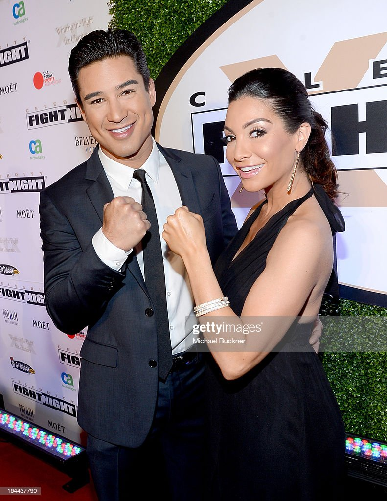 TV Personality Mario Lopez and wife Courtney Mazza with Moet & Chandon at Celebrity Fight Night XIX at JW Marriott Desert Ridge Resort & Spa on March 23, 2013 in Phoenix, Arizona.