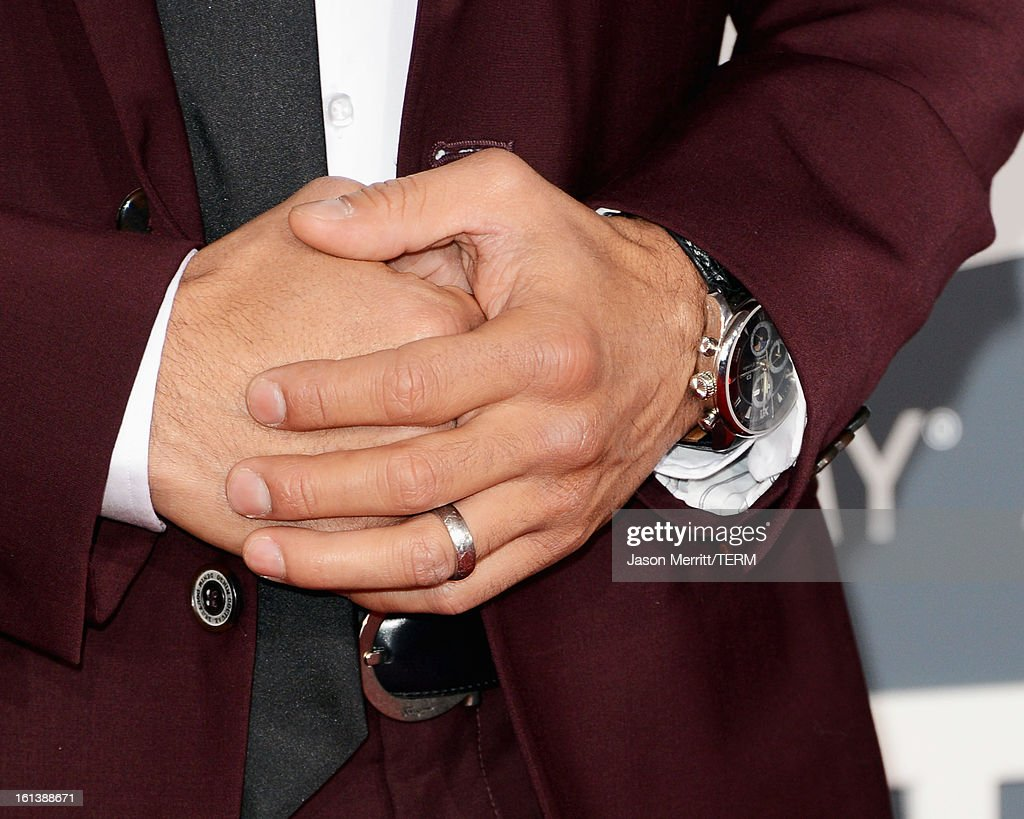 TV personality Mario Lopez (fashion detail) arrives at the 55th Annual GRAMMY Awards at Staples Center on February 10, 2013 in Los Angeles, California.
