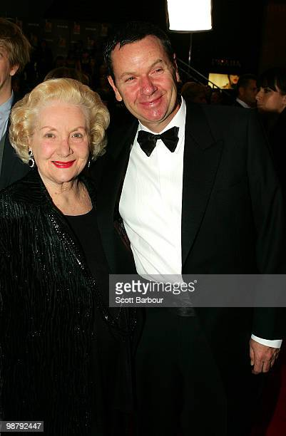 TV personality Marty Fields and mother Val Jellay arrive at the 52nd TV Week Logie Awards at Crown Casino on May 2 2010 in Melbourne Australia
