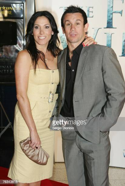 TV personality Matthew Johns and his wife Patricia attends 'The Final Winter' premiere at the Greater Union George Street Cinema on August 27 2007 in...