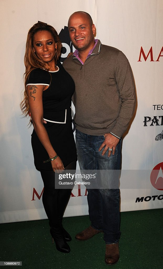TV Personality Melanie Brown and Stephen Belafonte attend the Maxim Party Powered by Motorola Xoom at Centennial Hall at Fair Park on February 5, 2011 in Dallas, Texas.