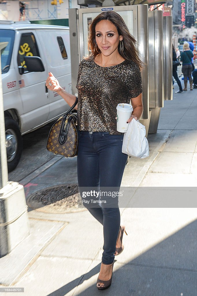 TV personality Melissa Gorga leaves the 'Big Morning Buzz' taping at the VH1 Studios on October 5, 2012 in New York City.