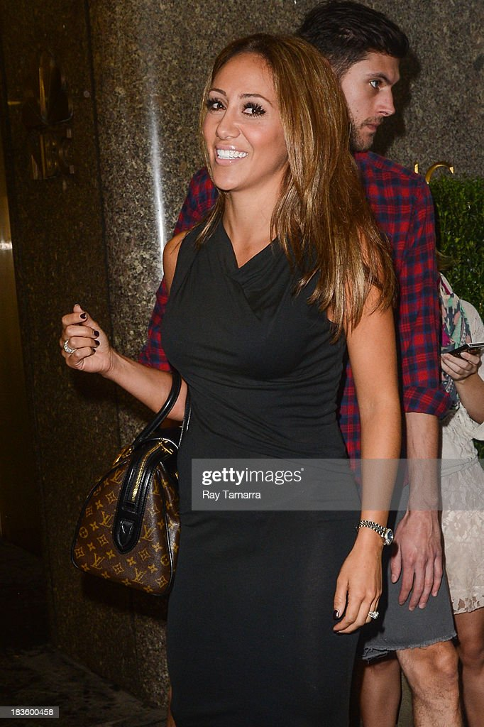 TV personality <a gi-track='captionPersonalityLinkClicked' href=/galleries/search?phrase=Melissa+Gorga&family=editorial&specificpeople=7306775 ng-click='$event.stopPropagation()'>Melissa Gorga</a> leaves the 'New York Live' taping at the NBC Rockefeller Center Studios on October 7, 2013 in New York City.