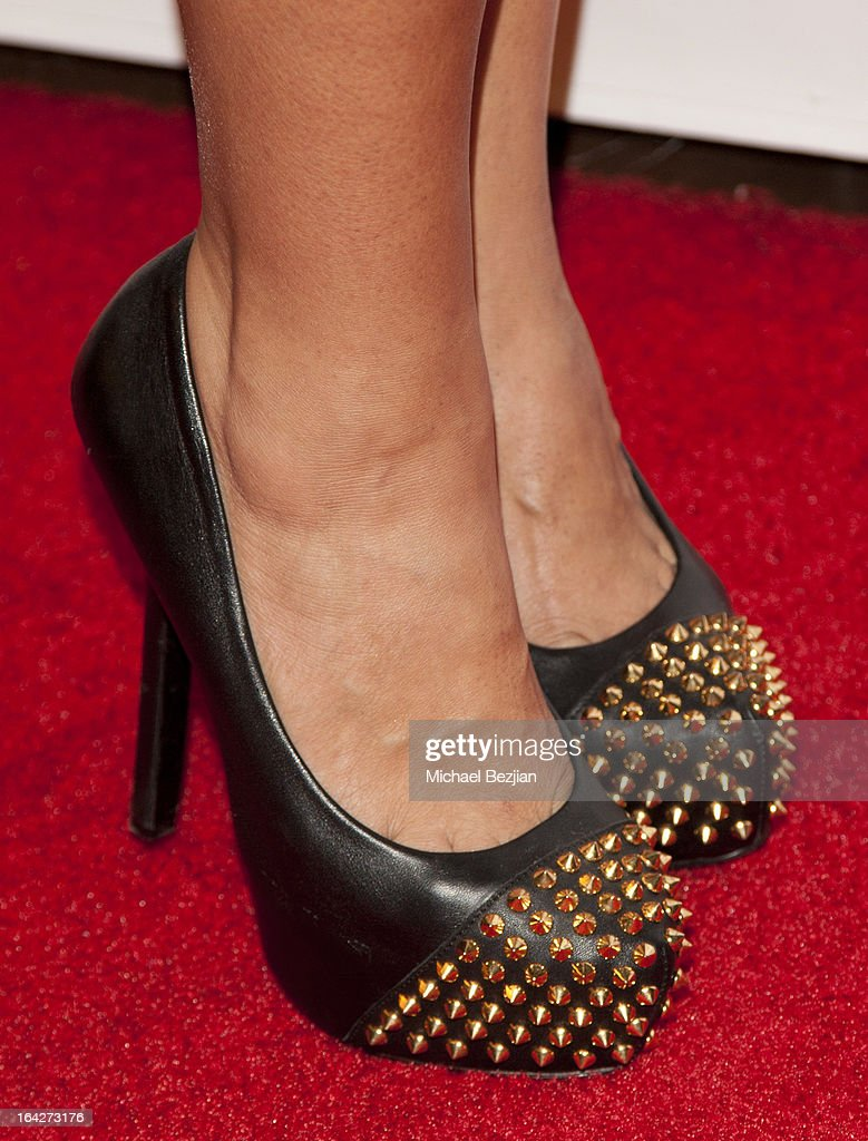 TV personality Mercedes Javid (shoe detail) attends 'Love Is Heroic' - The Unlikely Heroes Annual Spring Benefit at W Hollywood on March 21, 2013 in Hollywood, California.