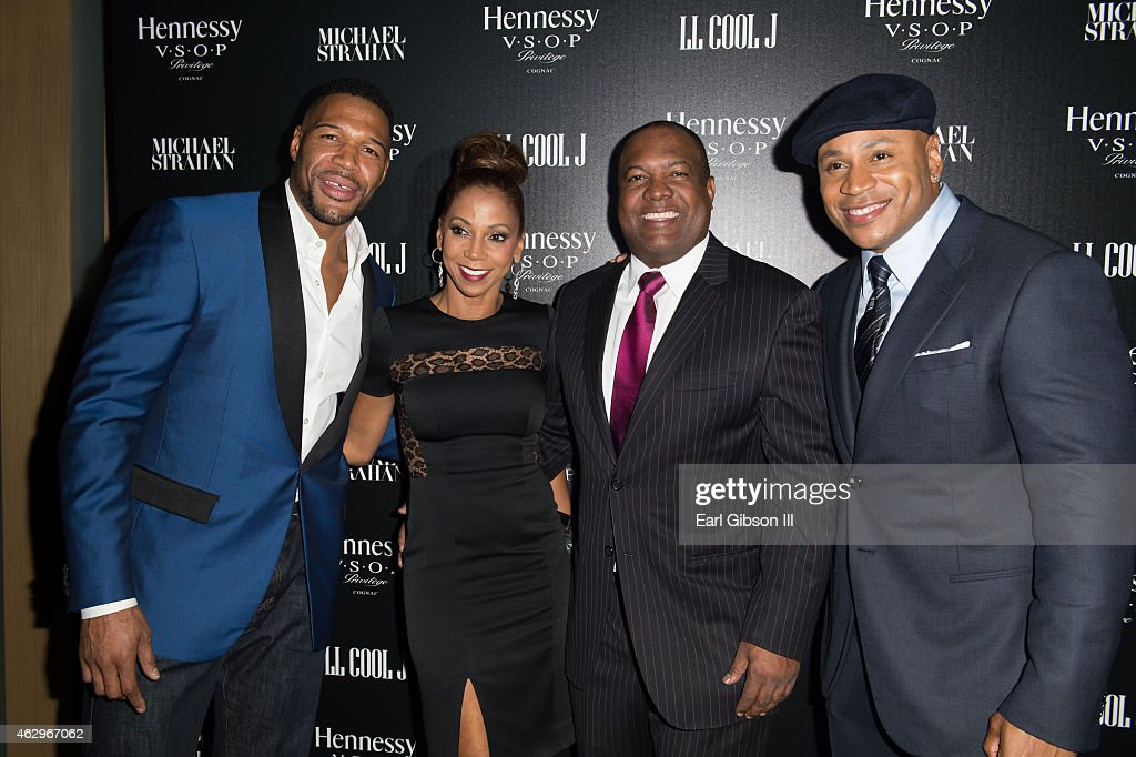 TV Personality Michael Strahan, Actress Holly Robinson Peete, husband Rodney Peete and Actor/Musician LL Cool J attend the Hennessy Toasts Achievements In Music Event on February 7, 2015 in Los Angeles, California.