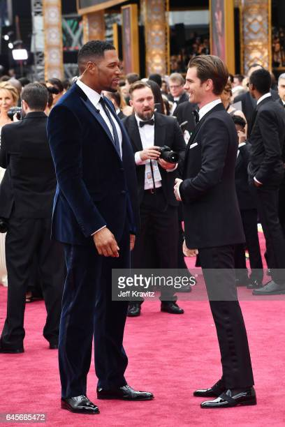TV personality Michael Strahan and actor Andrew Garfield attend the 89th Annual Academy Awards at Hollywood Highland Center on February 26 2017 in...