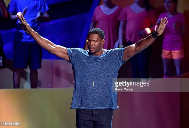 TV personality Michael Strahan speaks onstage at the Nickelodeon Kids' Choice Sports Awards 2015 at UCLA's Pauley Pavilion on July 16 2015 in...