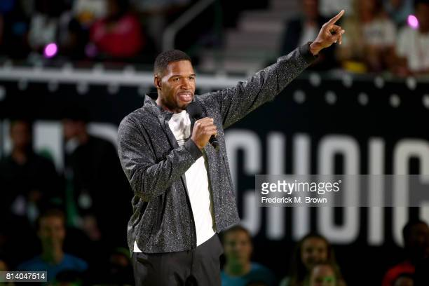 TV personality Michael Strahan speaks onstage during Nickelodeon Kids' Choice Sports Awards 2017 at Pauley Pavilion on July 13 2017 in Los Angeles...