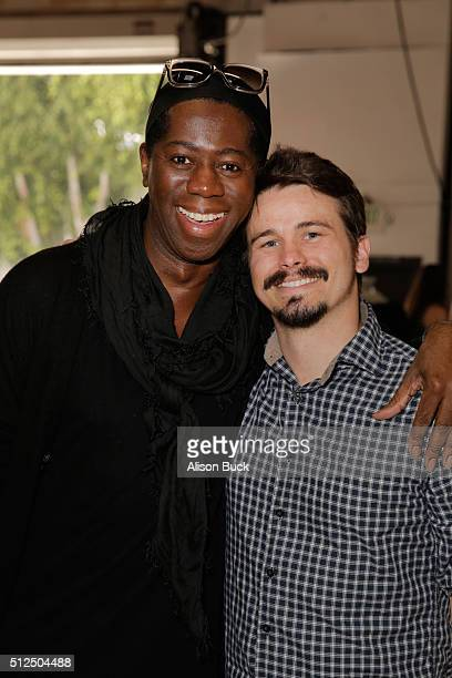 TV personality Miss J Alexander and actor Jason Ritter attend Kari Feinstein's Style Lounge presented by LIFX on February 26 2016 in Los Angeles...