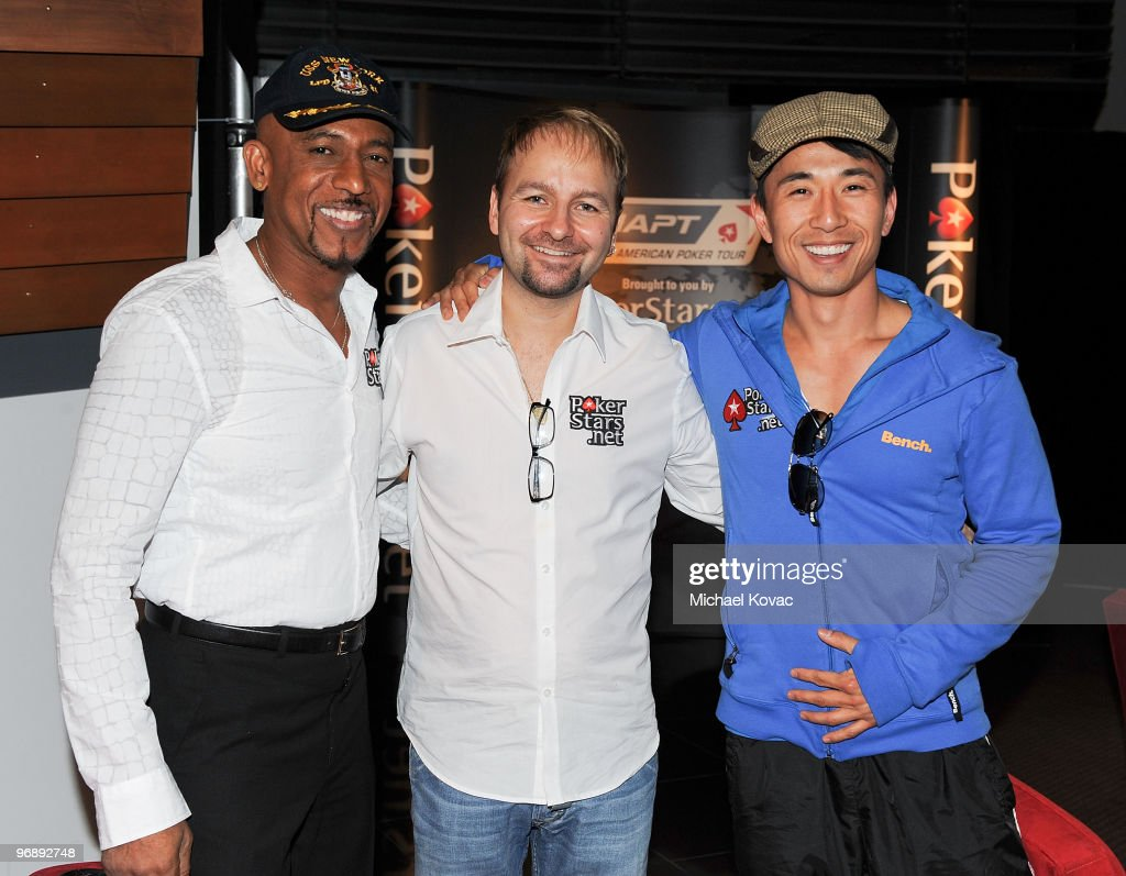 TV personality Montel WIlliams poker professional Daniel Negreanu and actor James Kyson Lee attend Pokerstarsnet's Celebrity Charity Poker Tournament...