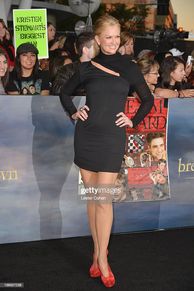 TV personality Nancy O'Dell arrives at 'The Twilight Saga: Breaking Dawn - Part 2' Los Angeles premiere at the Nokia Theatre L.A. Live on November 12, 2012 in Los Angeles, California.