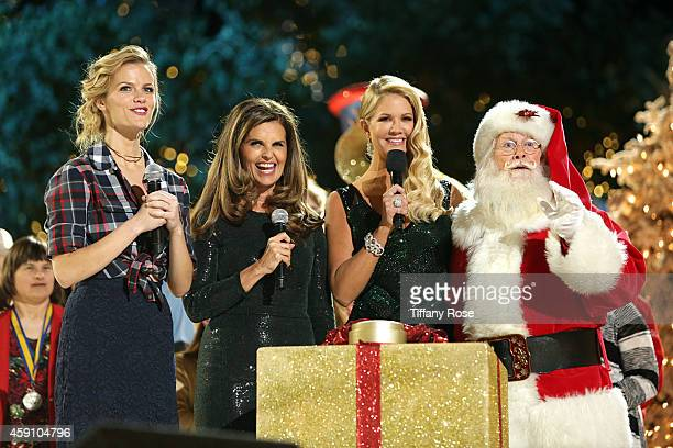 TV personality Nancy O'Dell Maria Shriver and model/actress Brooklyn Decker speak onstage with Santa at The Grove's 12th Annual Christmas Tree...