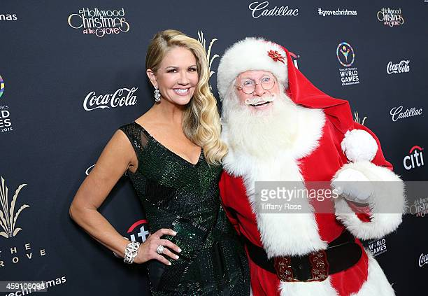 TV personality Nancy O'Dell poses with Santa at The Grove's 12th Annual Christmas Tree Lighting Spectacular Presented By Citi at The GroveÊon...