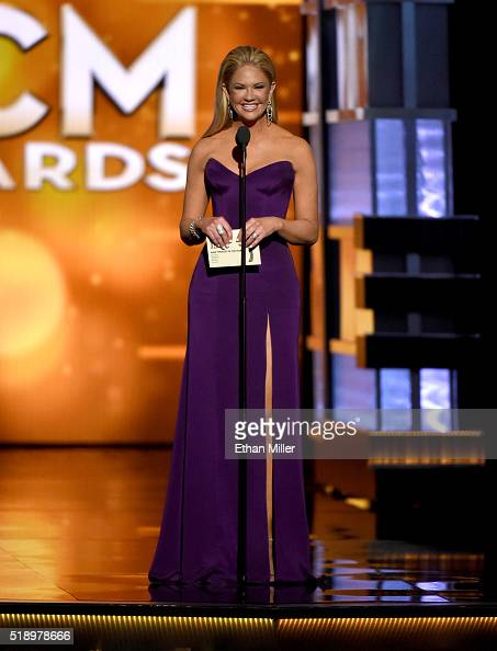TV personality Nancy O'Dell speaks onstage during the 51st Academy of Country Music Awards at MGM Grand Garden Arena on April 3 2016 in Las Vegas...