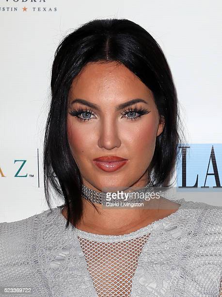 TV personality Natalie Halcro attends Los Angeles Travel Magazine's release of its 2016 spring issue at Andaz West Hollywood on April 22 2016 in West...