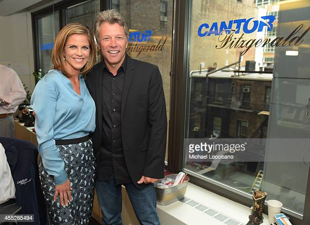 TV personality Natalie Morales and Jon Bon Jovi attend Annual Charity Day Hosted By Cantor Fitzgerald nd BGC at Cantor Fitzgerald on September 11...