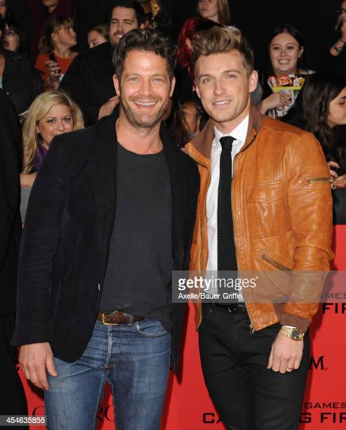 TV personality Nate Berkus and Jeremiah Brent arrive at the Los Angeles Premiere of 'The Hunger Games Catching Fire' at Nokia Theatre LA Live on...