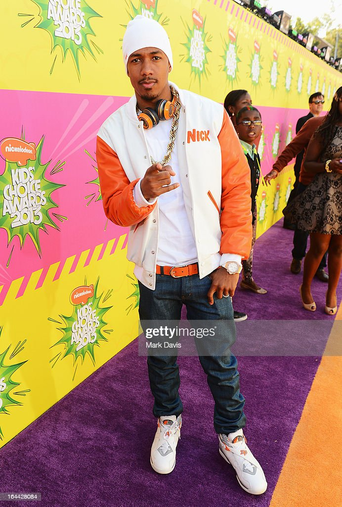 TV personality <a gi-track='captionPersonalityLinkClicked' href=/galleries/search?phrase=Nick+Cannon&family=editorial&specificpeople=202208 ng-click='$event.stopPropagation()'>Nick Cannon</a> arrives at Nickelodeon's 26th Annual Kids' Choice Awards at USC Galen Center on March 23, 2013 in Los Angeles, California.