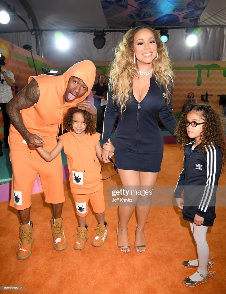 TV personality Nick Cannon, Monroe Cannon, singer Mariah Carey and Moroccan Scott Cannon at Nickelodeon's 2017 Kids' Choice Awards at USC Galen Center on March 11, 2017 in Los Angeles, California.