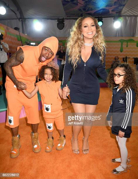 TV personality Nick Cannon Monroe Cannon singer Mariah Carey and Moroccan Scott Cannon at Nickelodeon's 2017 Kids' Choice Awards at USC Galen Center...