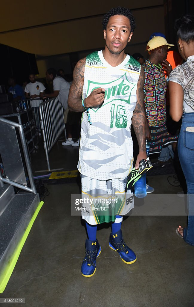 TV personality Nick Cannon seen in the green room at the celebrity basketball game during the 2016 BET Experience at the JW Marriott Los Angeles L.A. Live on June 25, 2016 in Los Angeles, California.