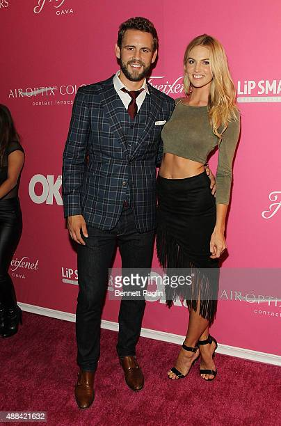 TV personality Nick Viall and model Kelly Thomas attends the OK Magazine's Spring 2016 NYFW Party at HAUS Nightclub on September 15 2015 in New York...
