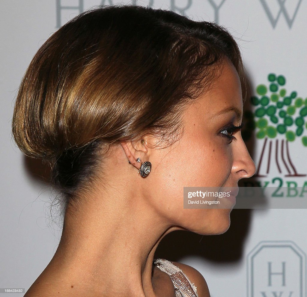 TV personality Nicole Richie (earring detail) attends the 1st Annual Baby2Baby Gala at The BookBindery on November 3, 2012 in Culver City, California.