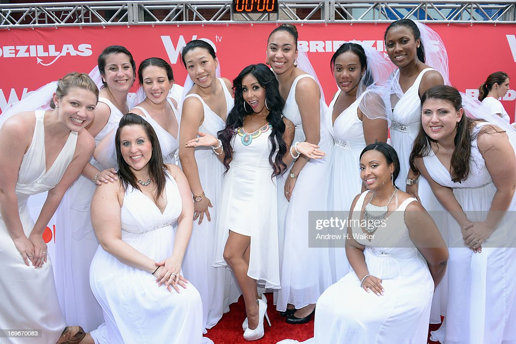 TV personality Nicole 'Snooki' Polizzi and brides attend WE TV's 'Bridezillas' kick off of it's 10th anniversary and final season witha cake eating competition on May 30, 2013 in New York City.