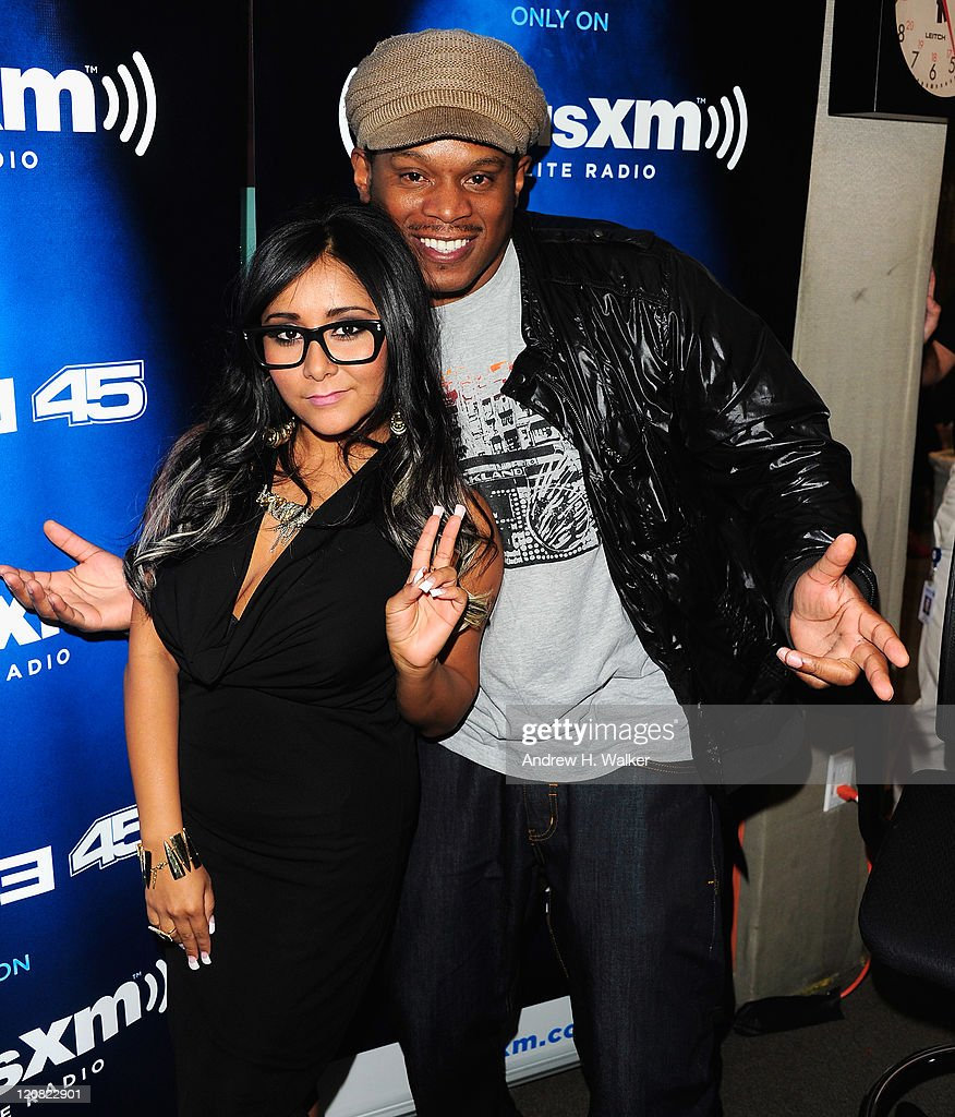 TV personality Nicole 'Snooki' Polizzi and Sway Calloway visit 'Sway in the morning' on Eminem's Shade 45 Channel in SiriusXM's studio on August 11, 2011 in New York City.