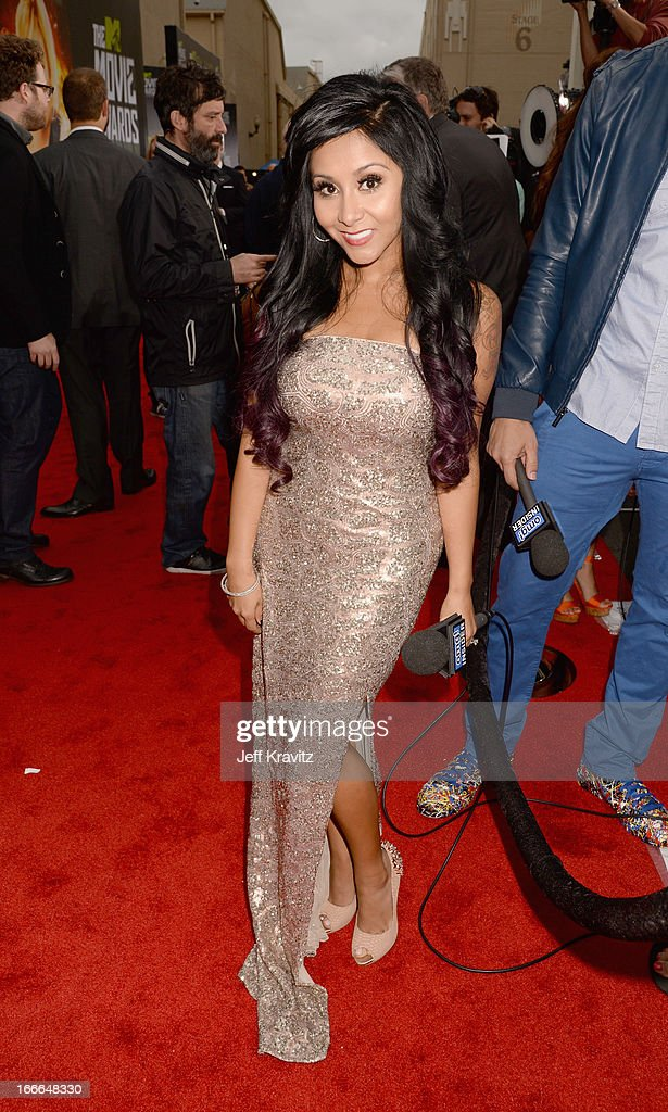 TV personality Nicole 'Snooki'' Polizzi attends the 2013 MTV Movie Awards at Sony Pictures Studios on April 14, 2013 in Culver City, California.