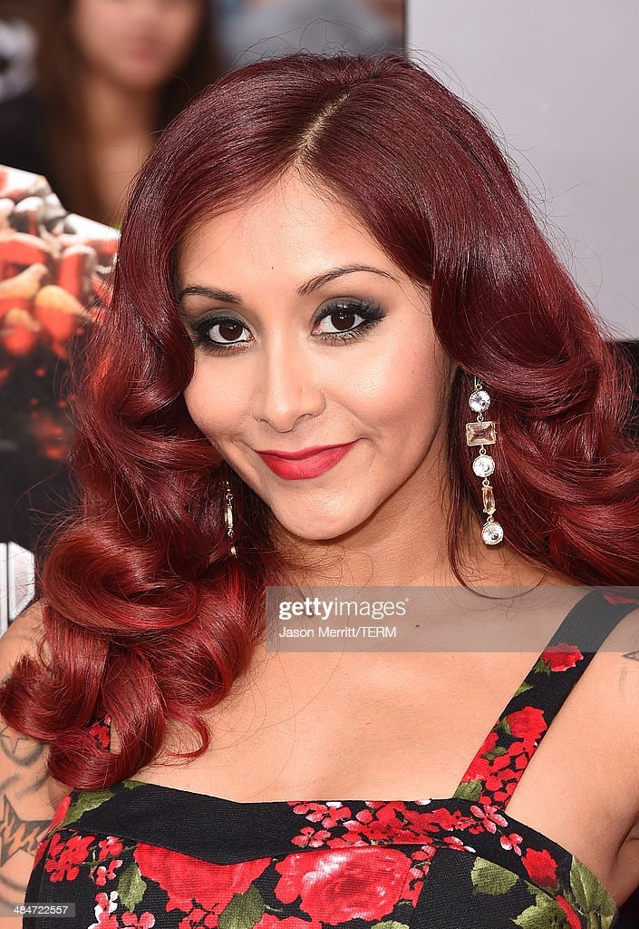 TV personality Nicole 'Snooki' Polizzi attends the 2014 MTV Movie Awards at Nokia Theatre L.A. Live on April 13, 2014 in Los Angeles, California.